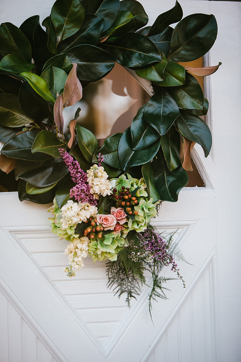 Magnolia Leaf Wreaths on Wedding Chapel Doors