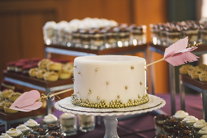Miniature Couples Cake with Gold Beading and Cupid's Arrow