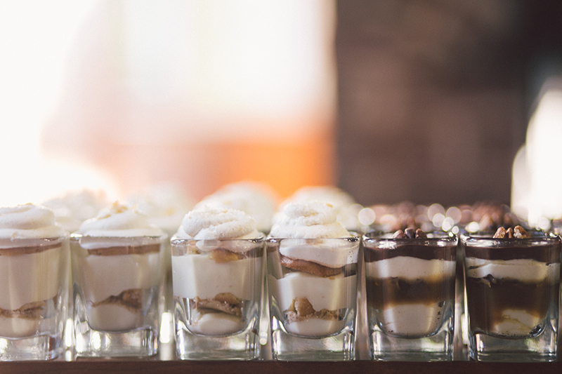 Miniature Dessert Shot Table at Wedding Reception