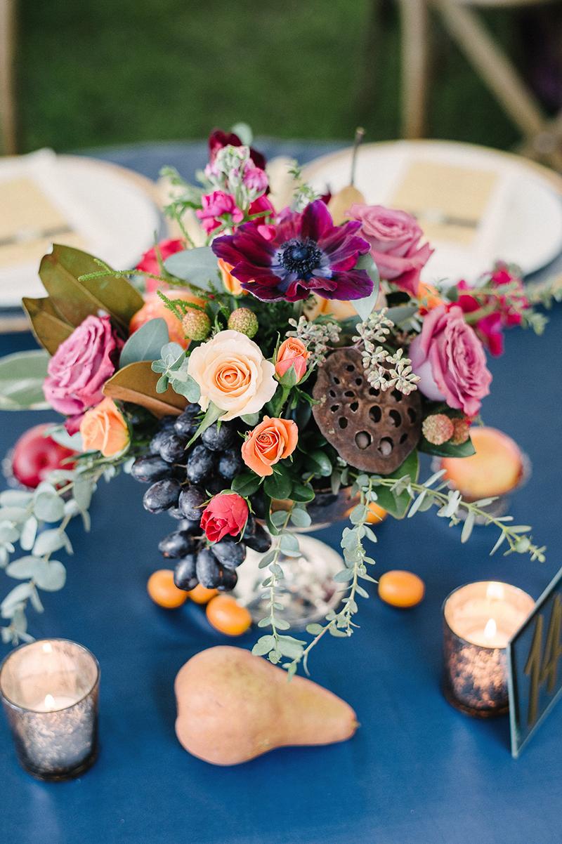 Multicolored Rose Anemone Grape Blue Wedding Reception Table Centerpiece Bouquet