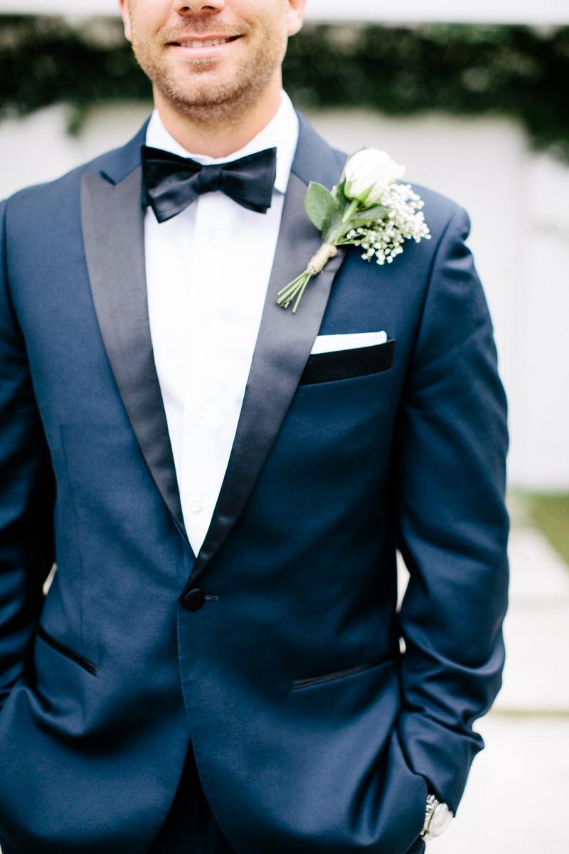 Navy Groom Black Bow Tie