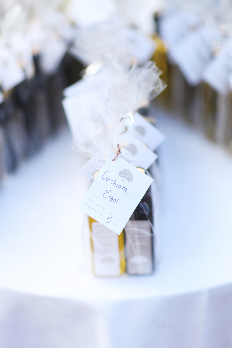 Olive Oil and Balsamic Vinegar Escort Card Favors