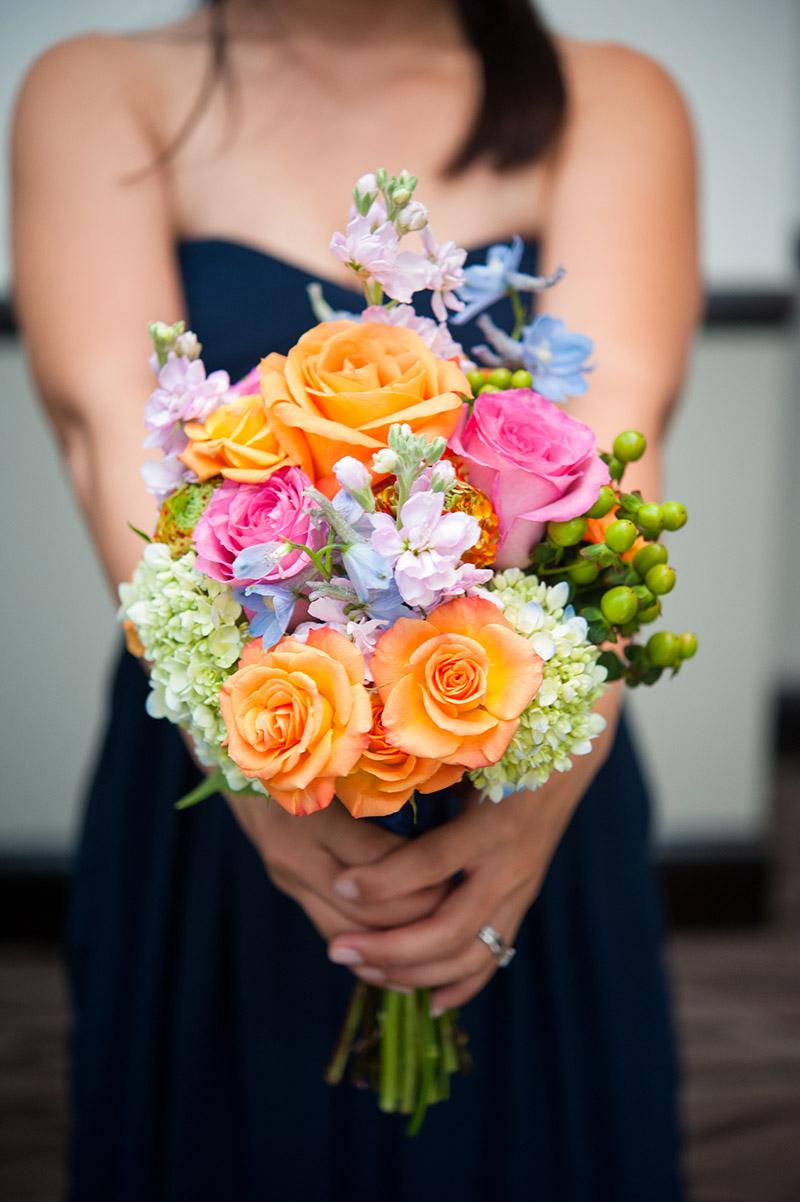 Orange rose white hydrangea bridesmaid bouquet