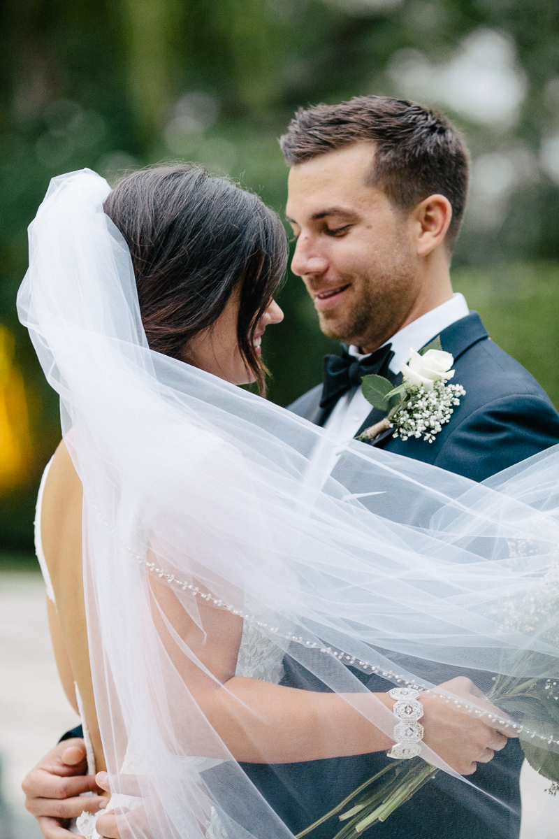 Outdoor Bride and Groom Long Veil