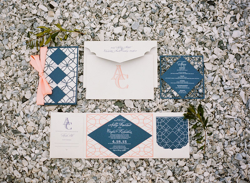 Peach and Navy Custom Designed Stationery Suite