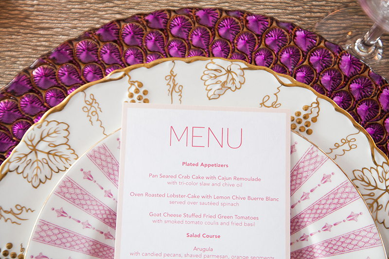 Pink Gold Printed Stacked Plate Table Setting Display with Menu