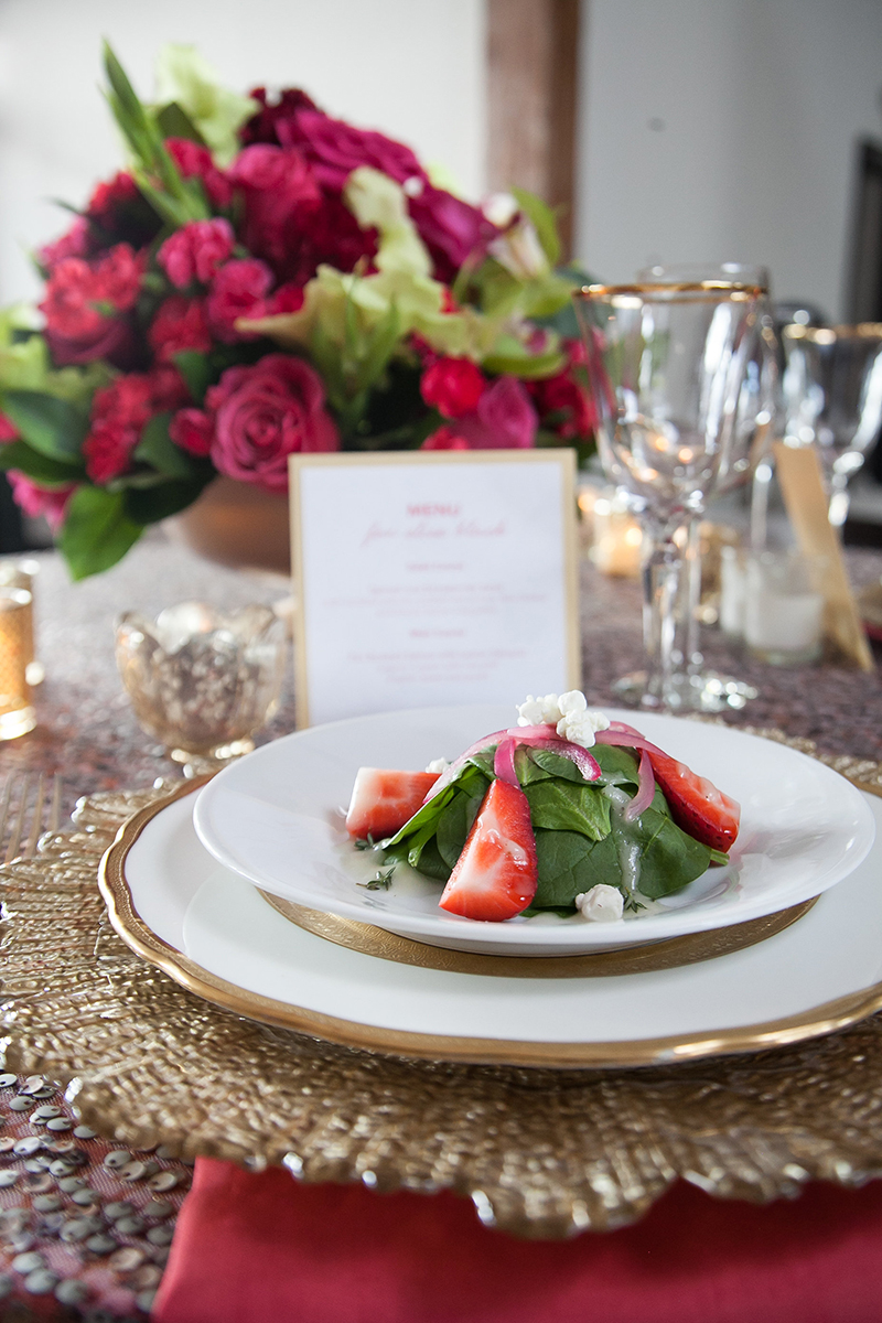 Pink Gold Wedding Reception Plated Appetizer Table Setting