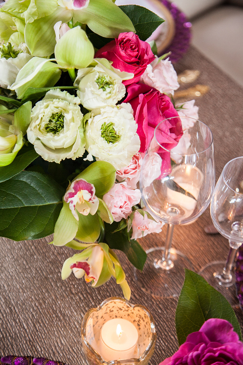 Pink Green Rose Rununculus Orchid Wedding Reception Table Centerpiece