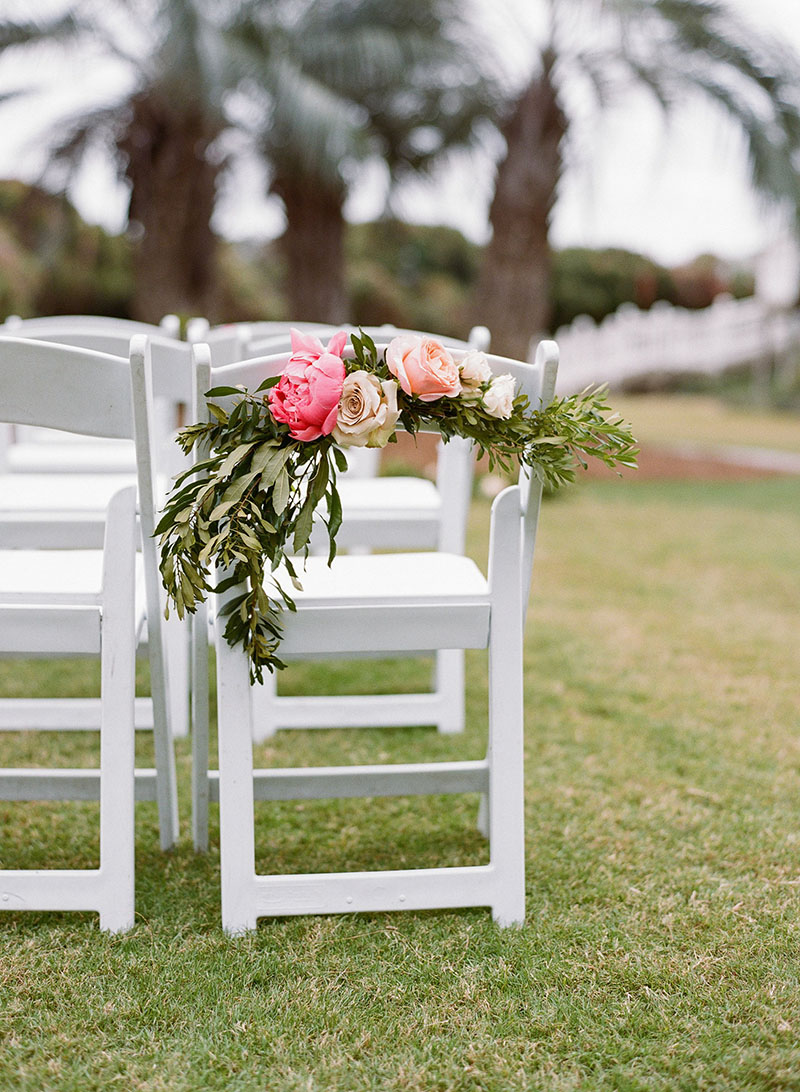 Pink Peony and Peach Rose Ceremony Chair Decor