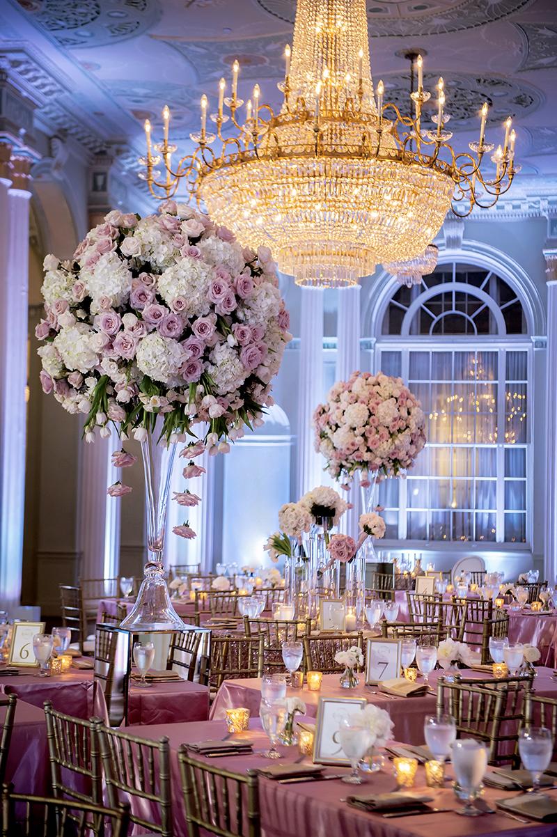 Pink Wedding Reception Floral Arrangements at Biltmore Ballrooms