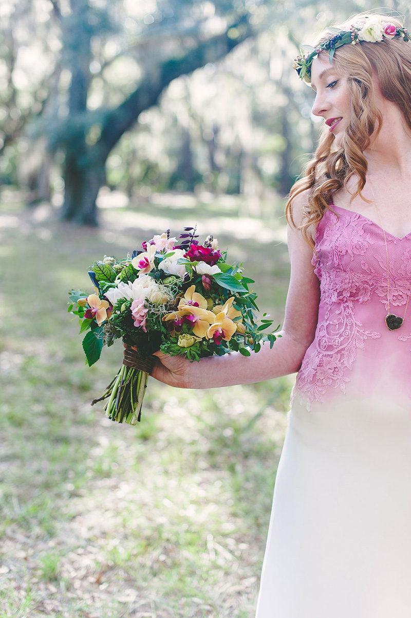 Pink White Ombre Bridesmaid Dress & Bouquet