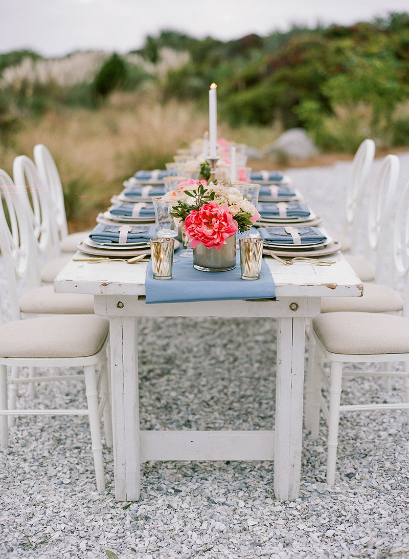 Pink and Blue Table Setting on Rustic White Washed Farm Table