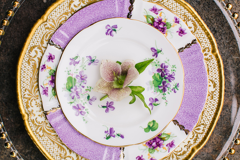 Purple Gold Orchid Violet Wedding Reception Stacked Plate Table Setting