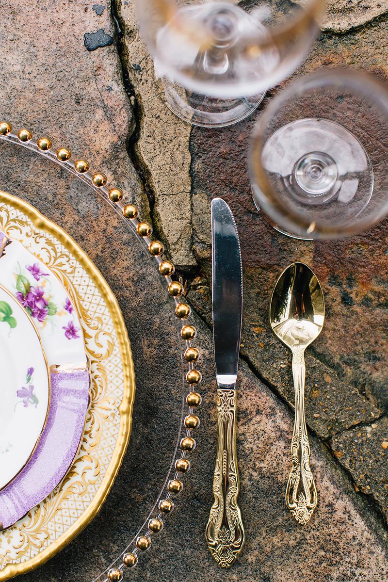 Purple Gold Wedding Reception Set Table Display