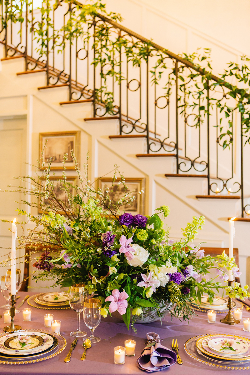 Purple Green Fairytale Inspired Table Setting Display with Stairs
