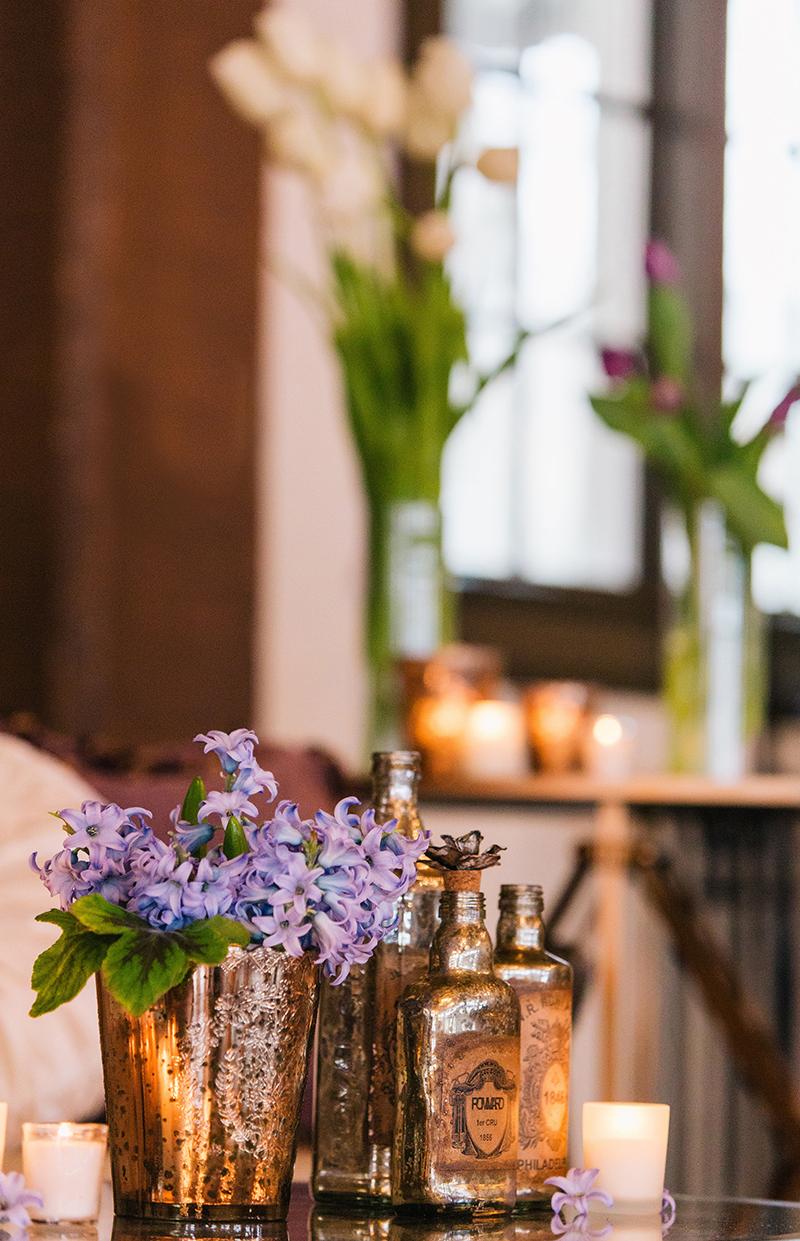 Purple Hyacinth Gold Wedding Reception Table Centerpiece Display