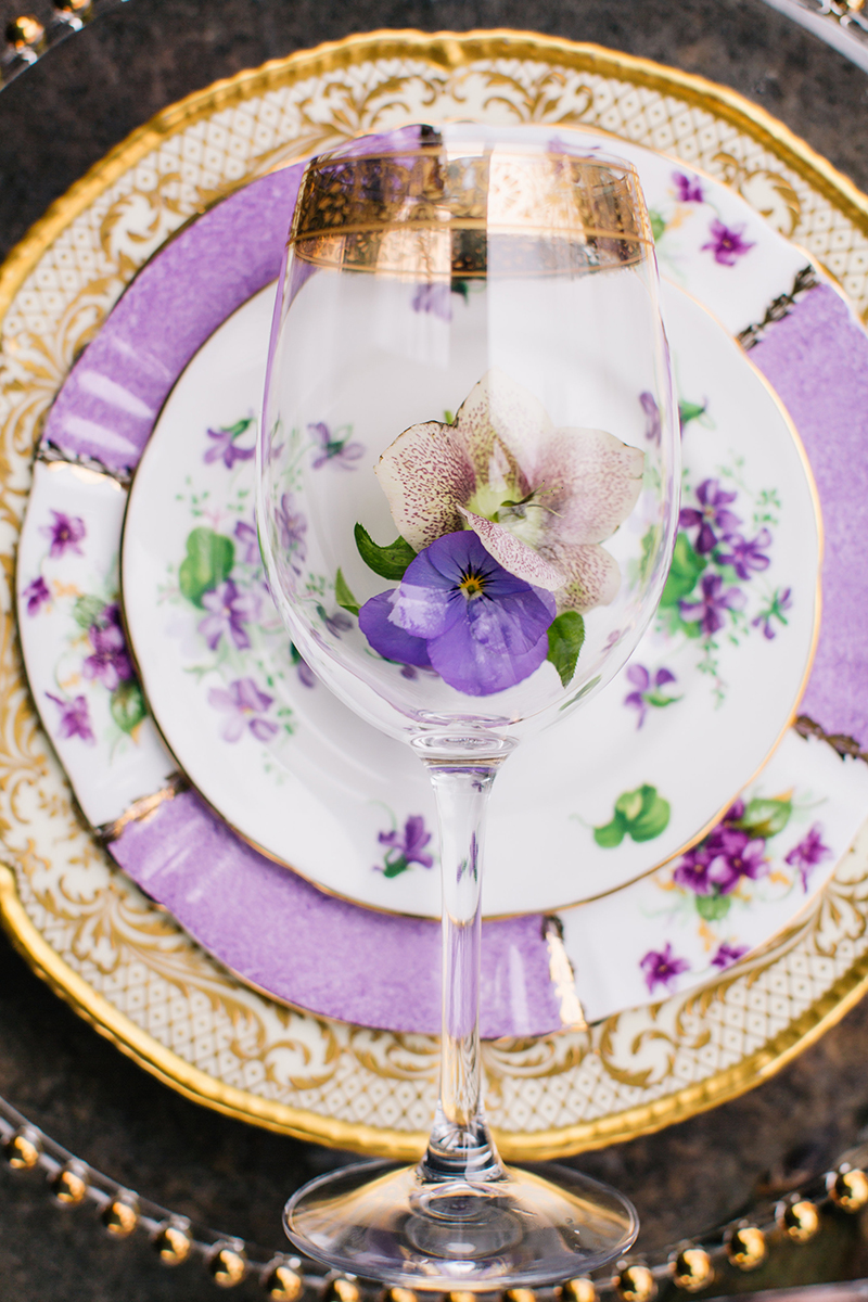 Purple Violet Pancy Orchid Gold Wedding Reception Plate and Glass Table Setting Display