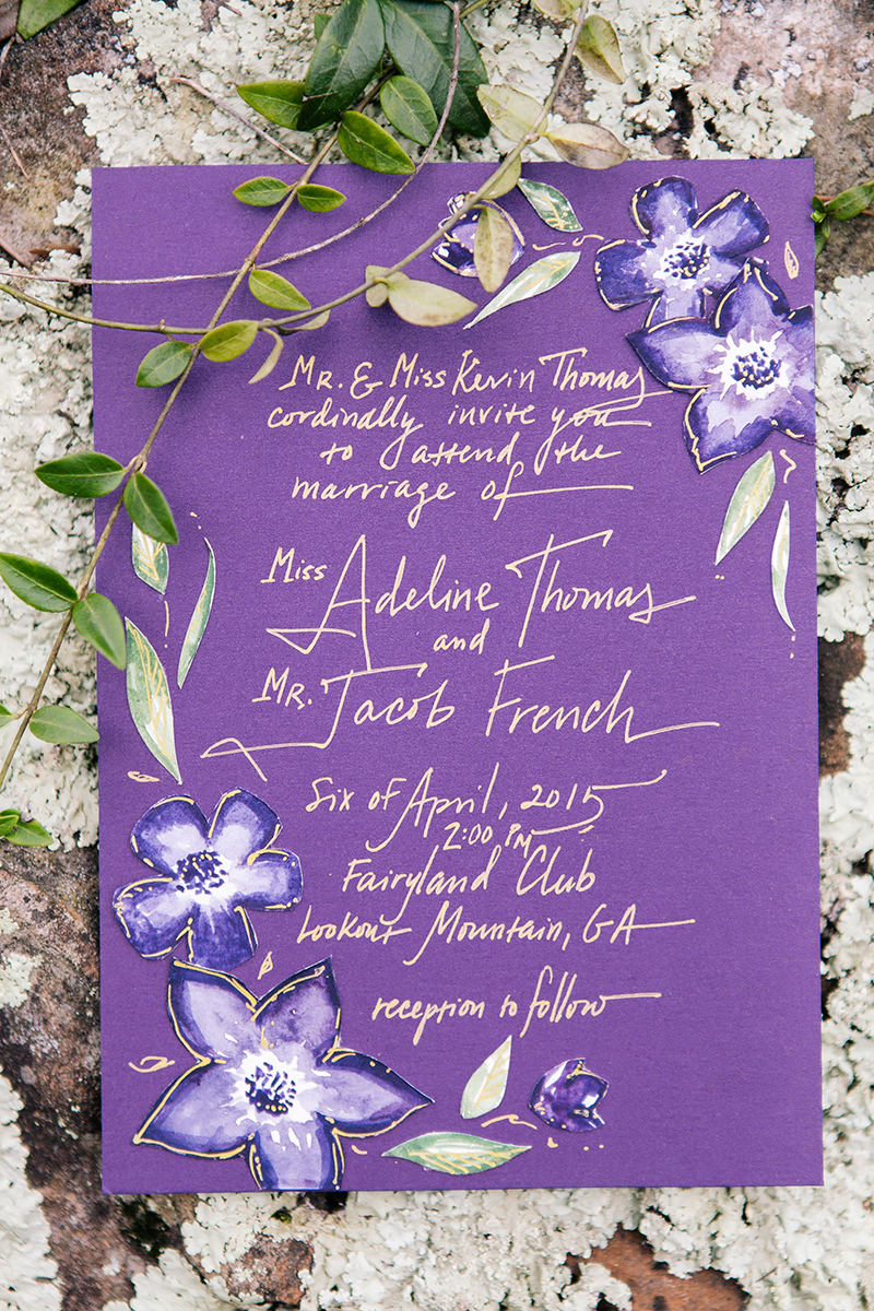 Purple Violet Woodland Calligraphy Wedding Invitation