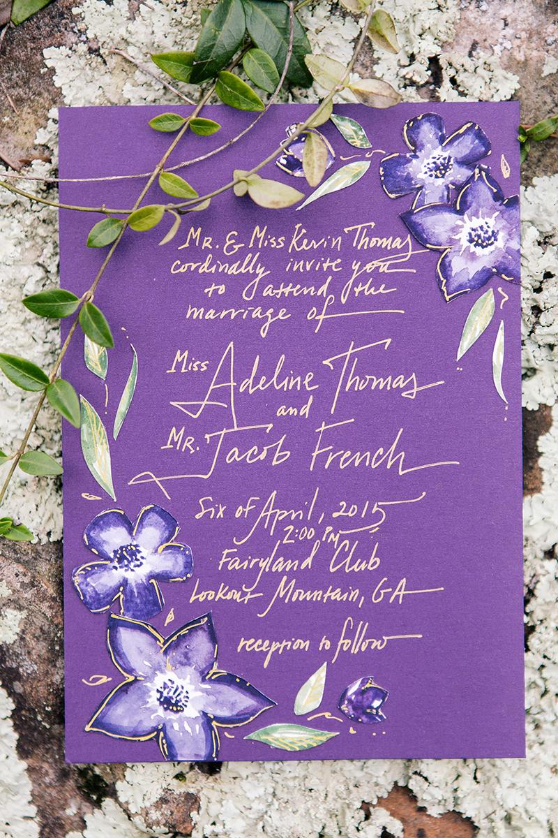 Purple Violet Woodland Calligraphy Wedding Invitation