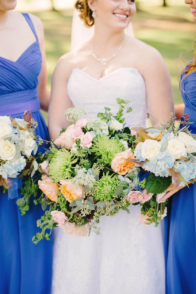 Ranch Inspired Blue Orange Bride & Bridesmaid