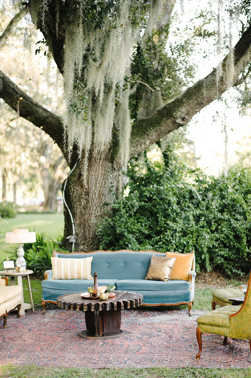 Ranch Inspired Outdoor Blue Gold Couch Seating Display