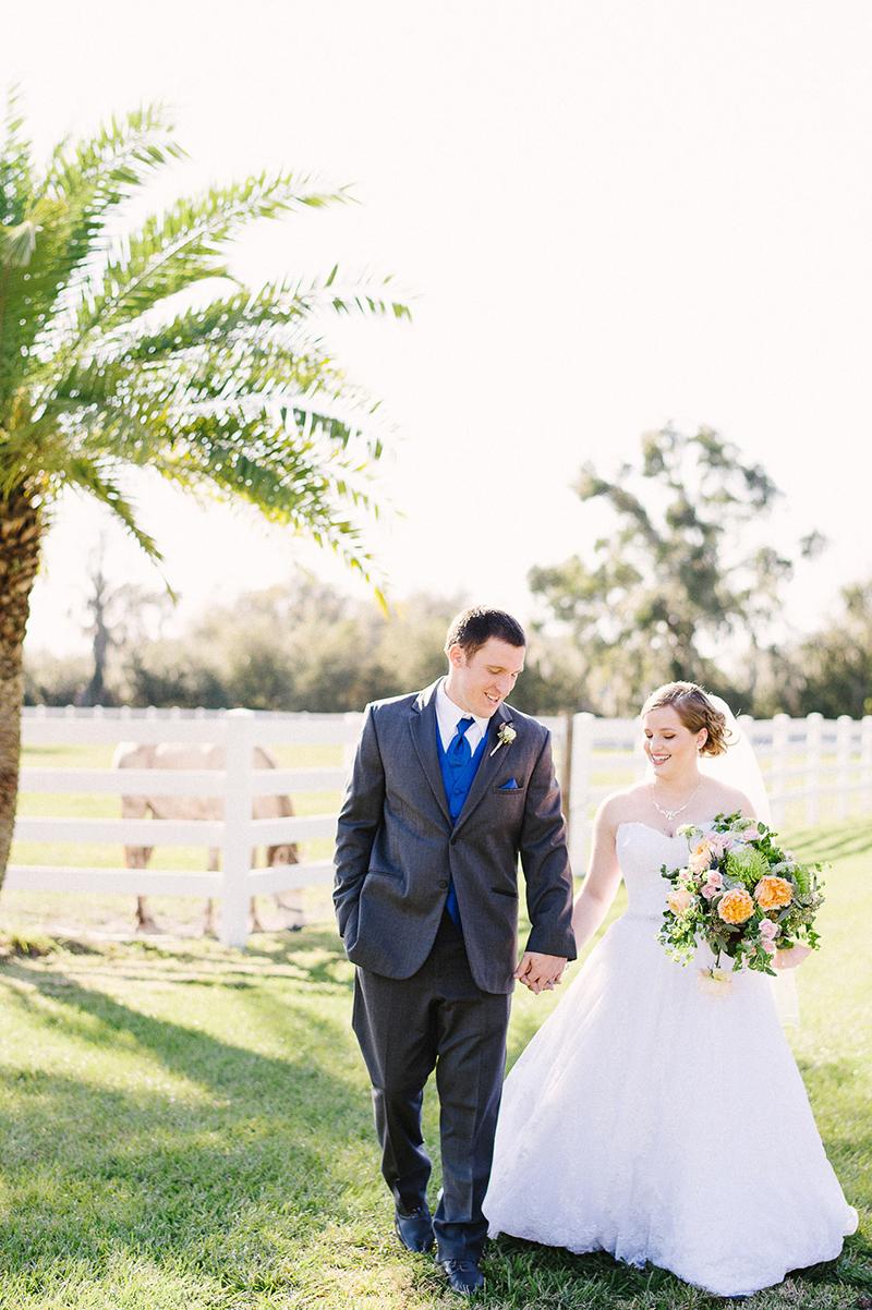 Ranch Inspired Outdoor Blue Orange Bride & Groom