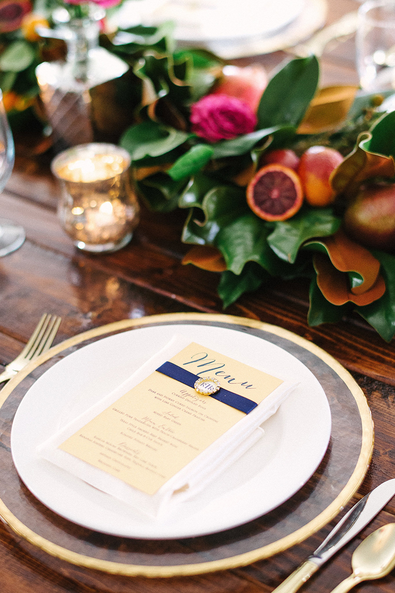 Ranch Inspired Wood Wedding Reception Table Setting with Menu