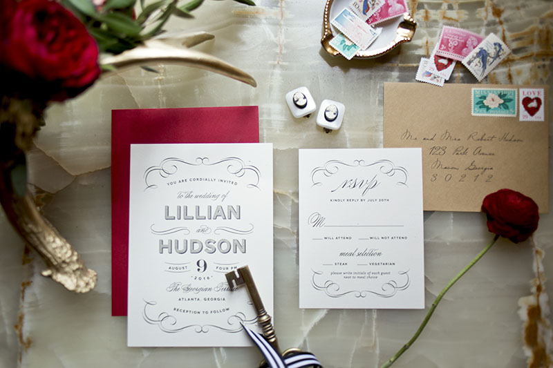 Red Calligraphed Stationery Suite