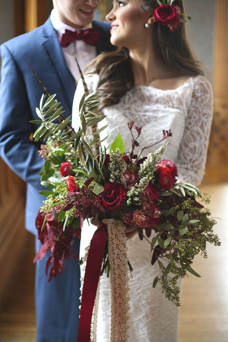 Red Rose and Seeded Eucalyptus Bouquet with Lace Ribbon Wrap
