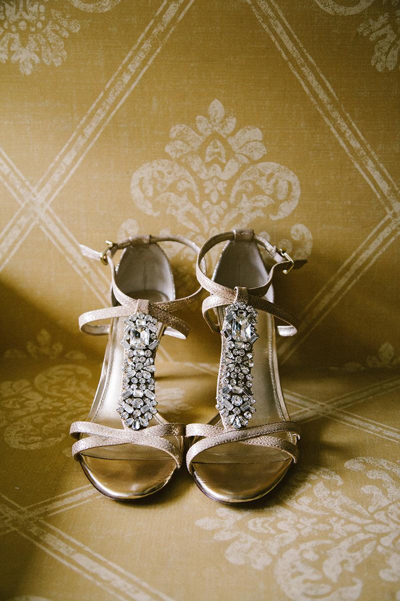 Rhinestoned Gold Bridal Shoes