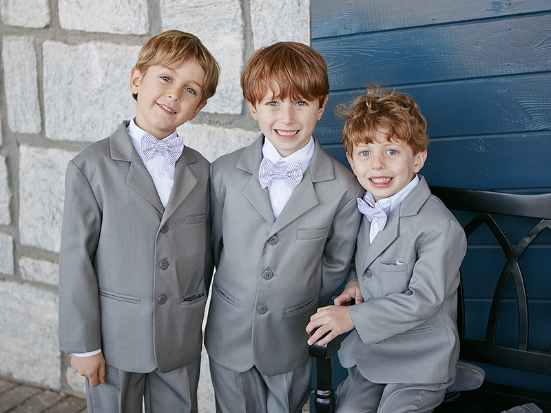 Ring Bearers in Gray Suits and Purple Bowties