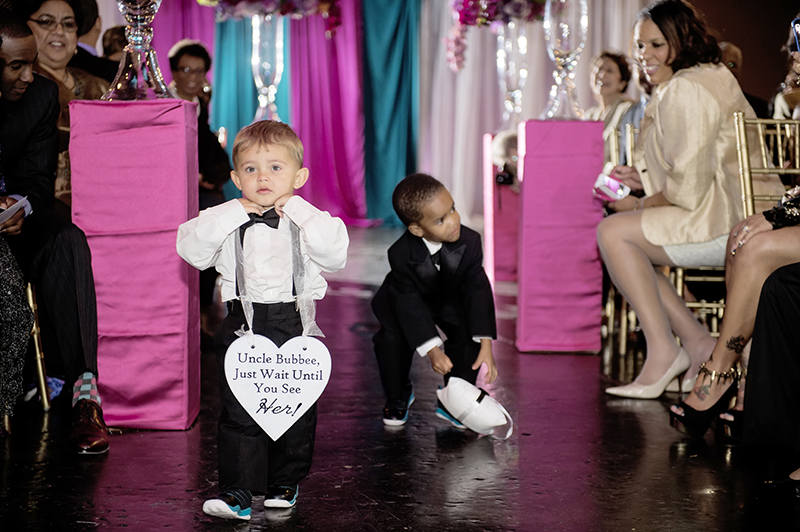 Ring Bearers with Signs in Processional