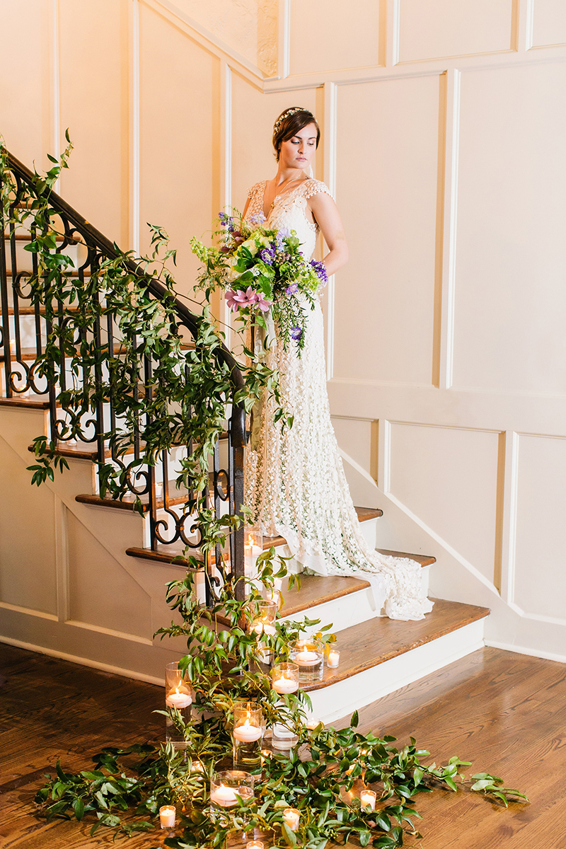 Romantic Fairytale Inspired Bride on Vine Draped Stairs