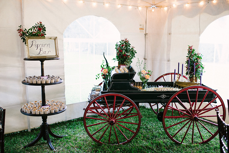 Romantic Ranch Inspired Wedding Reception Tent Dessert Display