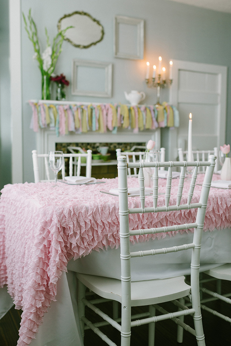 Ruffled Pink Table Setup with Chiavari Chair at The Gilbert House