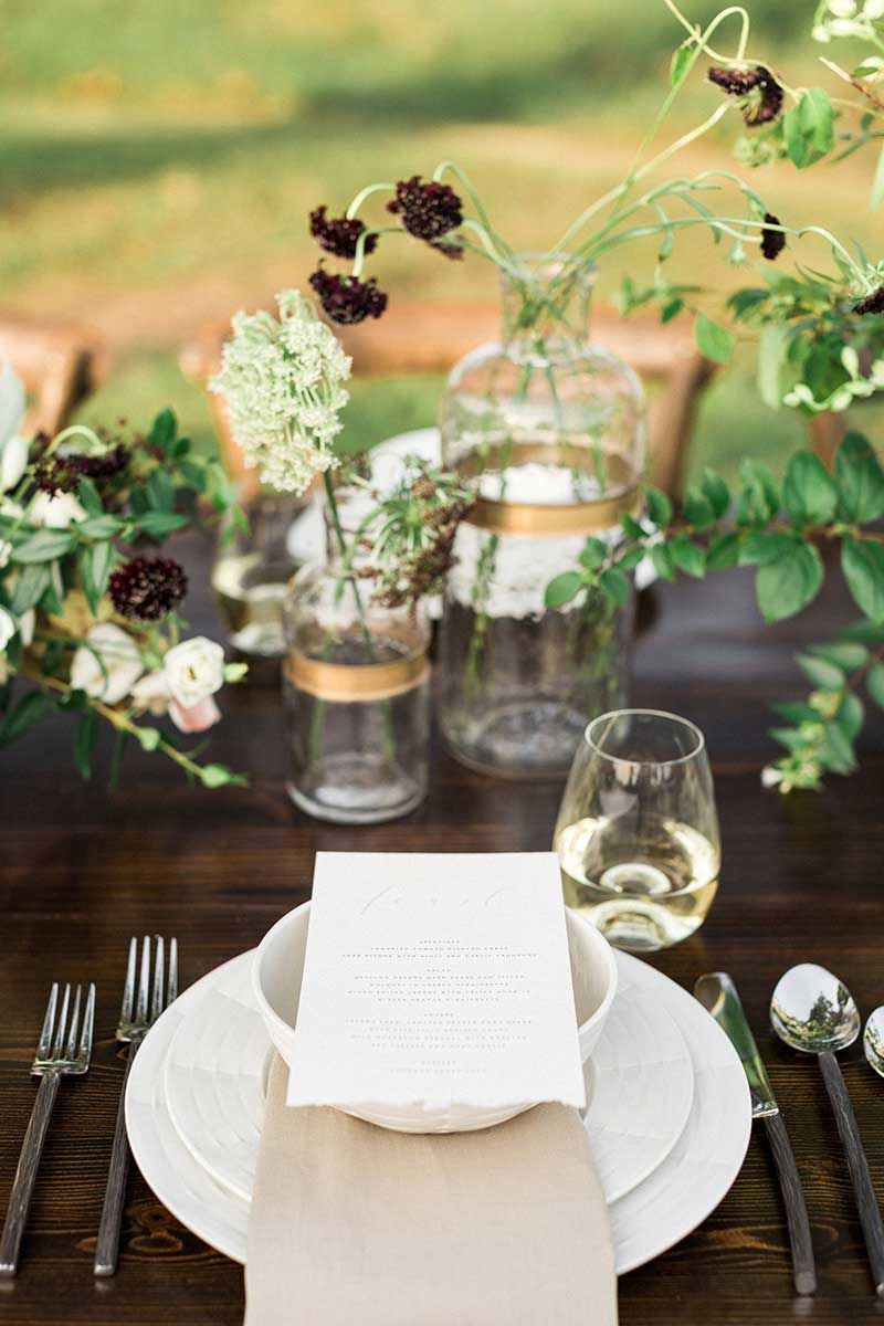 Rustic-Beige-Gold-Green-Outdoor-Wedding-Reception-Table-Setting-Display