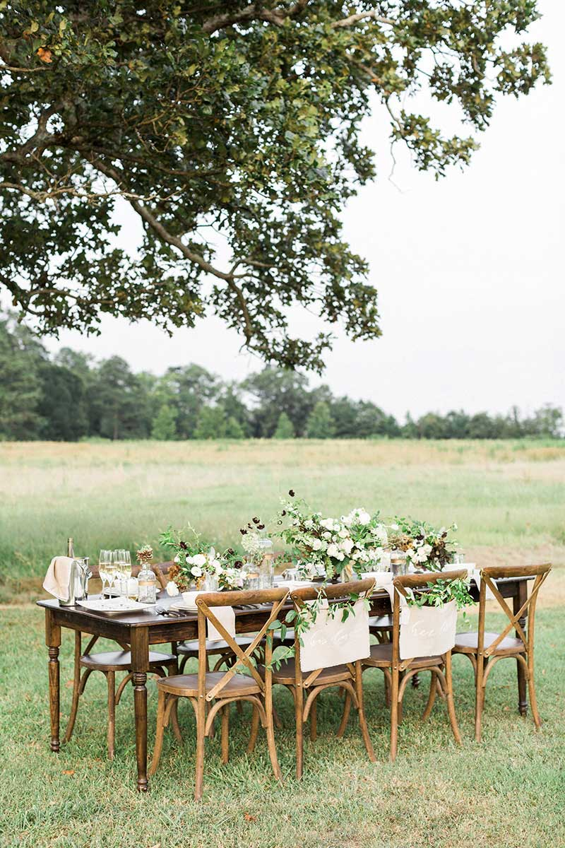 Rustic-Outdoor-Wedding-Rececption-Farm-Table-Setup