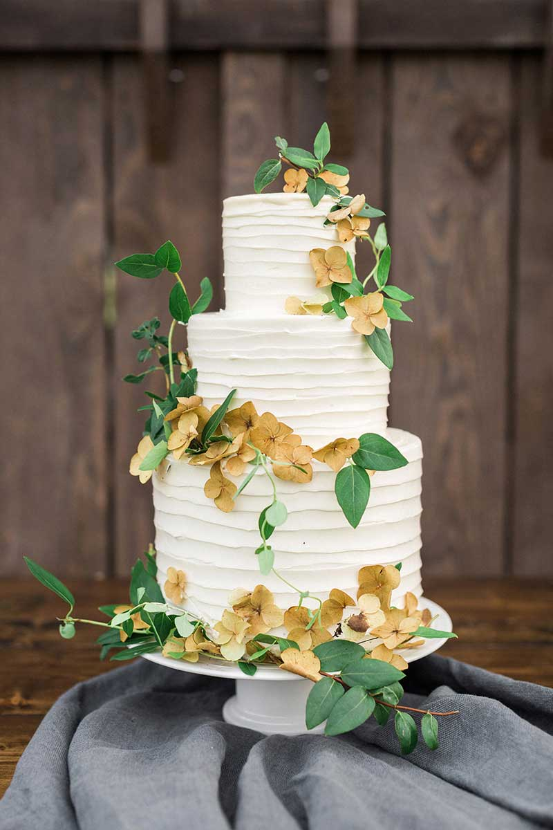Rustic-Three-Tiered-Beige-Hydrangea-Topped-White-Wedding-Cake-Display