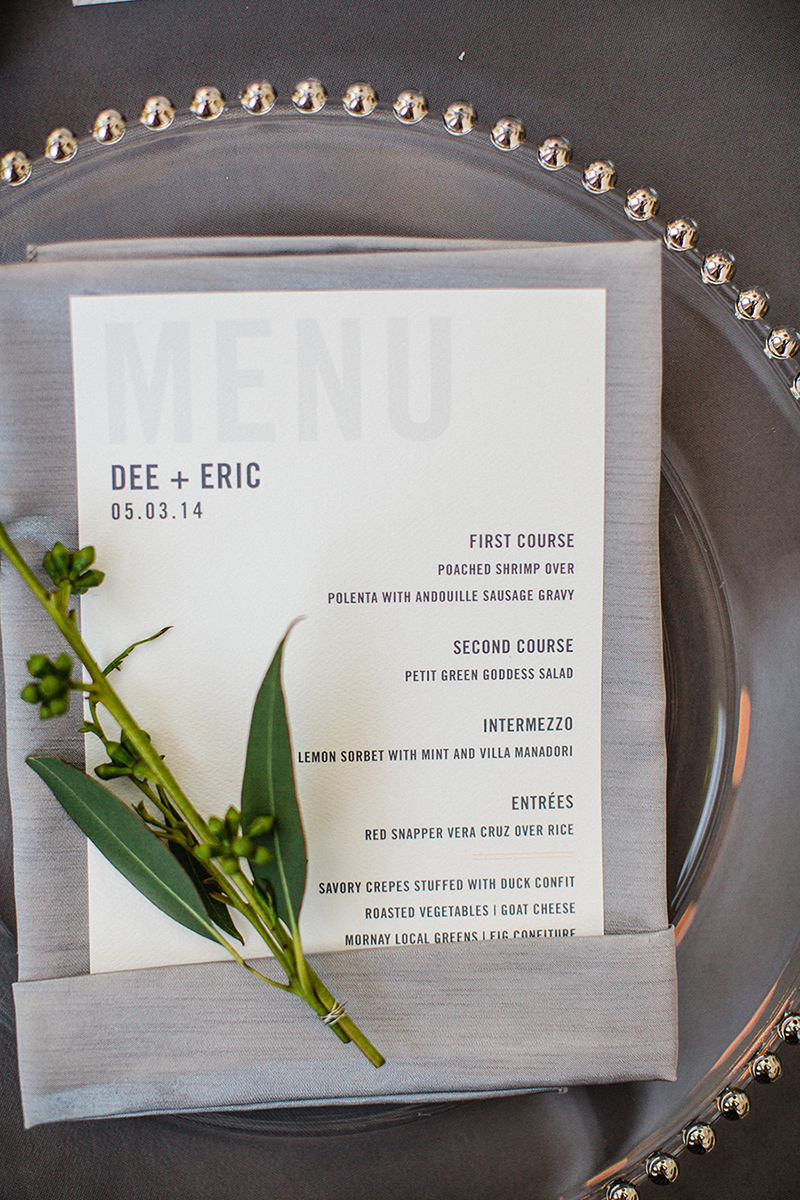 Silver White Wedding Menu