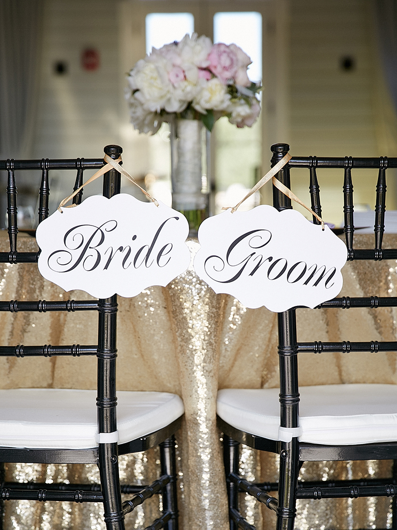 Sweetheart Table with Sequin Linen and Script Seat Signs