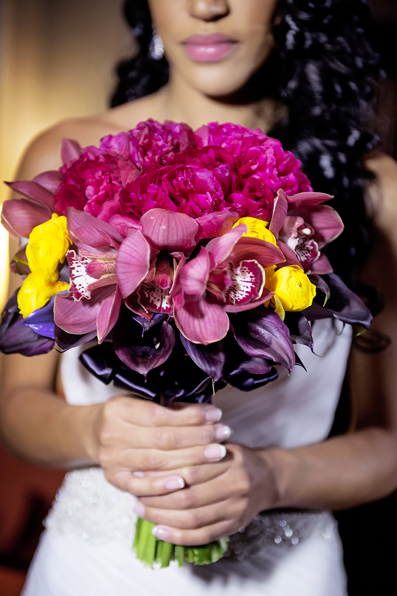 Vibrant Peony and Orchid Bridal Bouquet