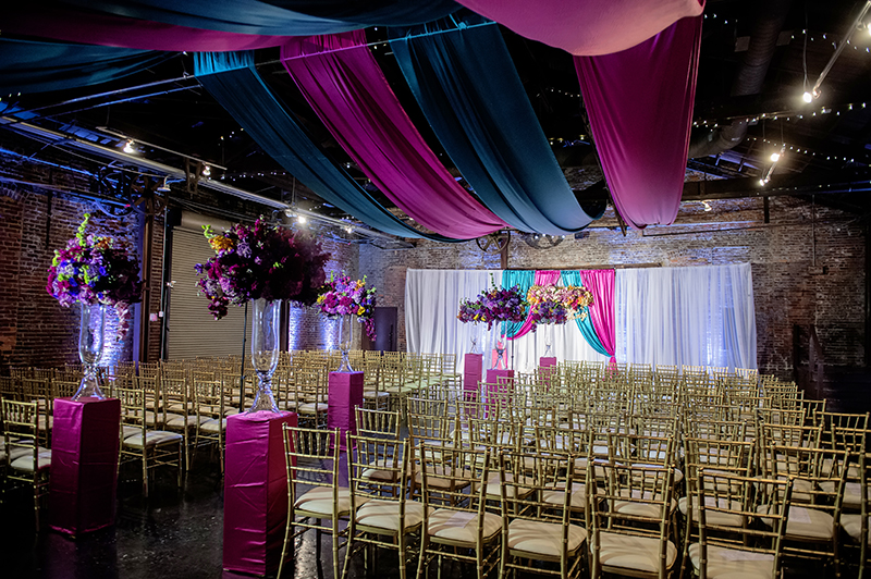 Vibrant Wedding Ceremony Setup Inside King Plow Arts Center