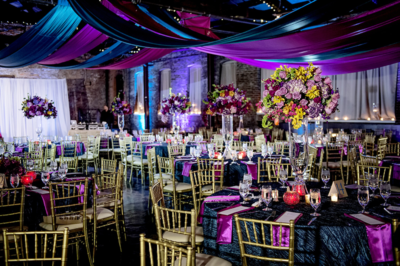 Vibrant Wedding Reception Set Up at King Plow