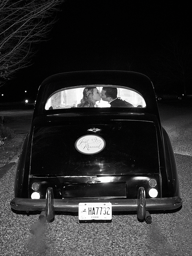 Vintage Getaway Car at Wedding Reception