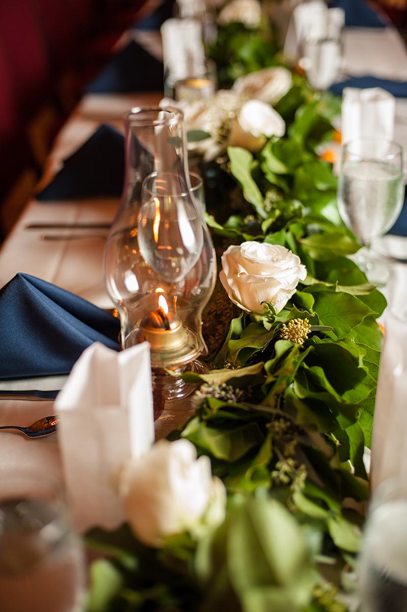 Vintage Hurricane Lanterns on Reception Dinner Tables