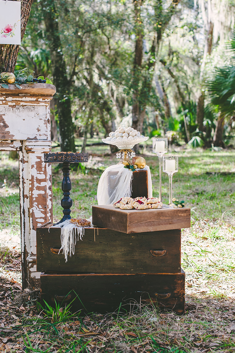 Vintage Wedding Reception Dessert Table Display