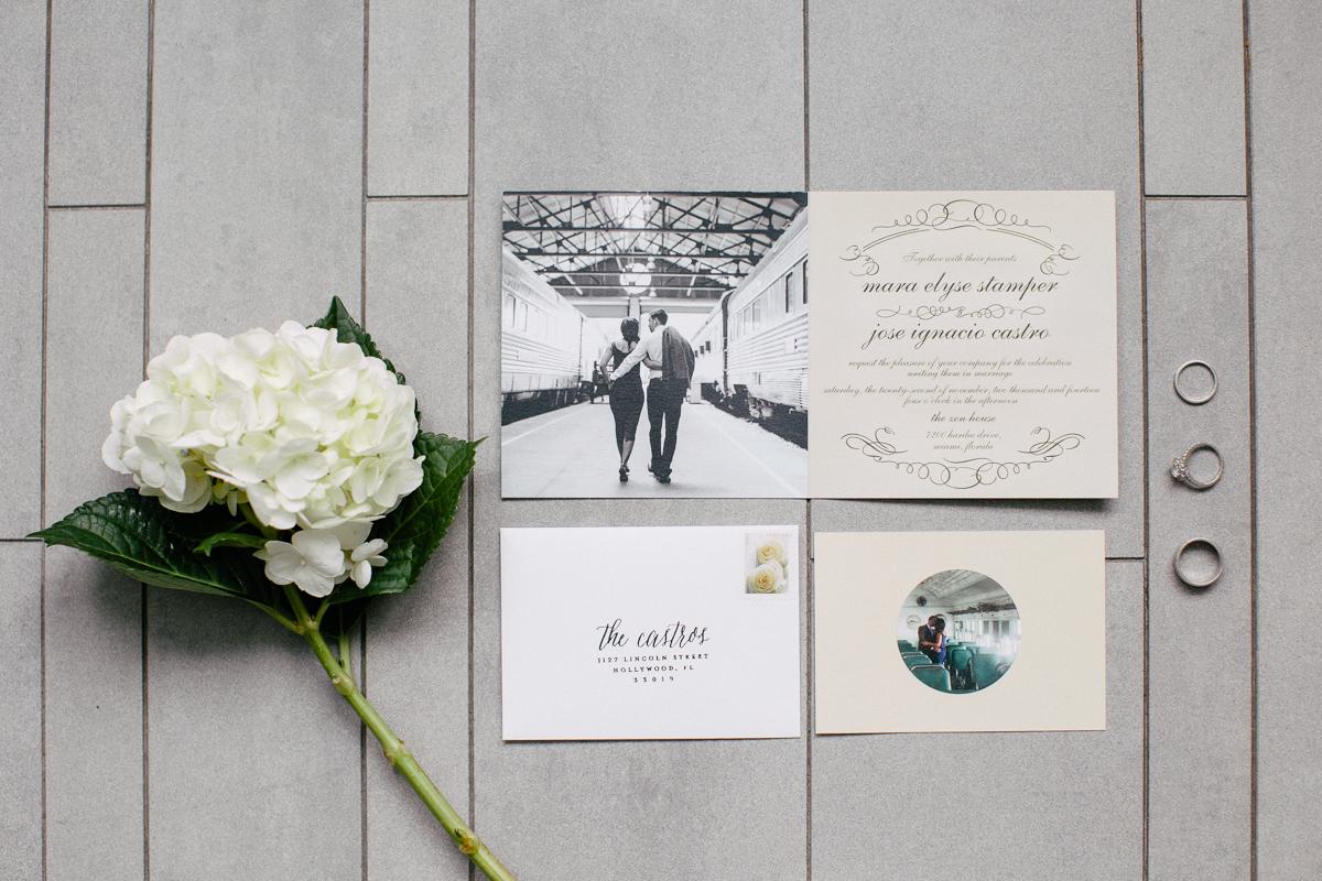 Intimate estate wedding at the zen house in miami fl the wedding invitation suite rings hydrangea display stopboris Gallery