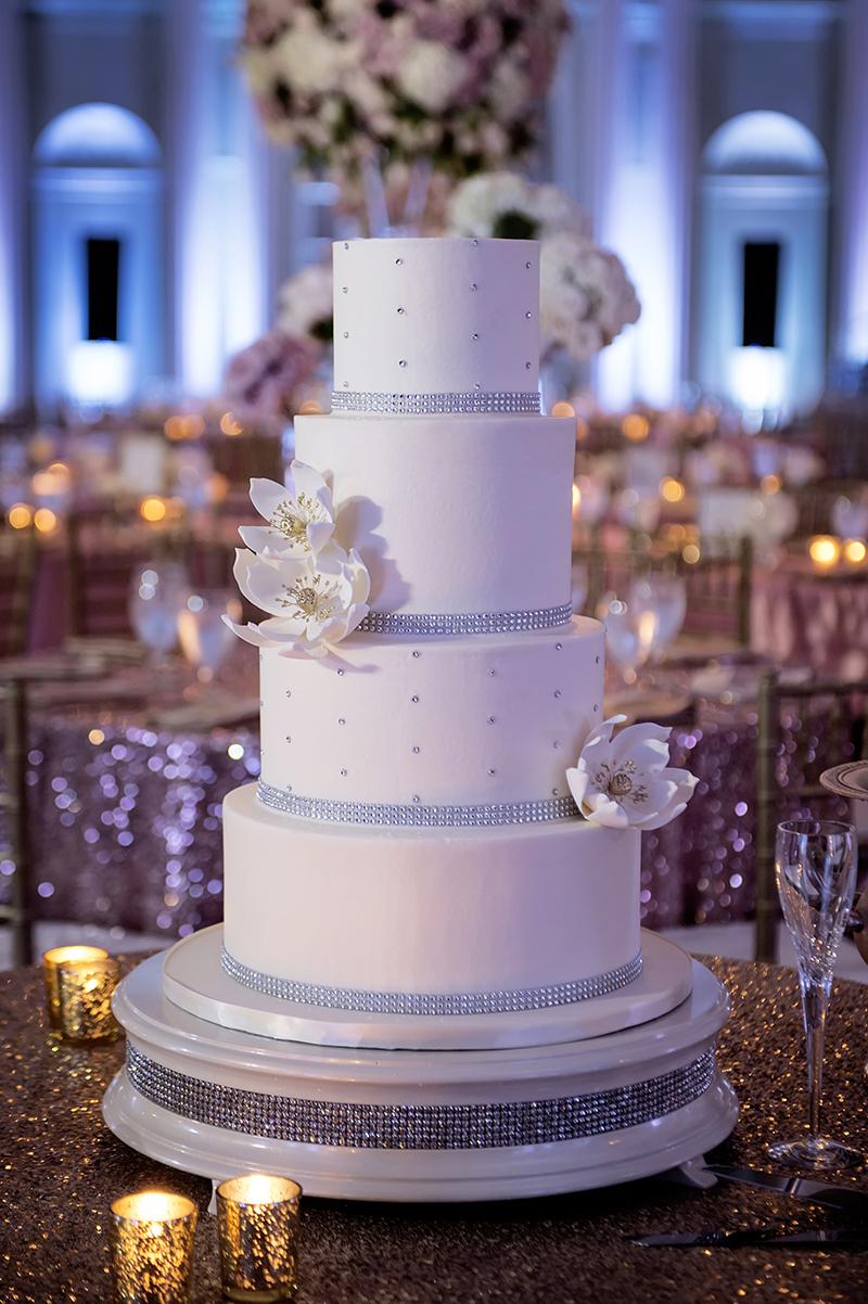 White Blinged Wedding Cake with Sugar Flowers