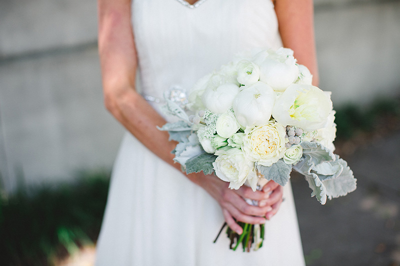 White Garden Rose Peony Dusty Miller Bridal Bouquet