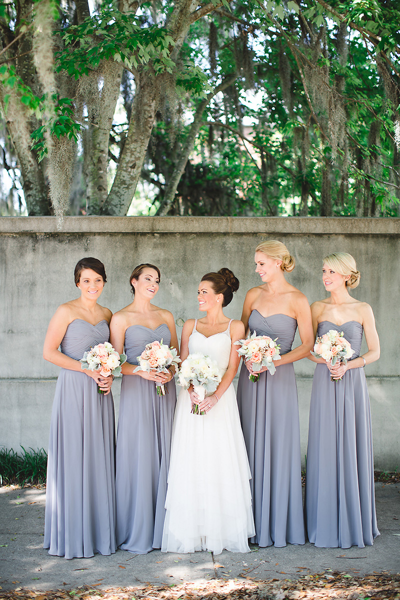 White Gray Bride Bridesmaid Group Shot